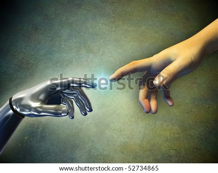 Human hand touching an android hand. Digital illustration. - stock photo