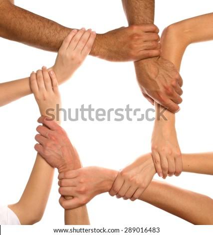 Human Hand, Unity, Multi-Ethnic Group. - stock photo