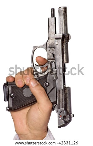 Human hand with gun. Isolated - stock photo