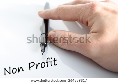 Human hand writing Non Profit  isolated over white background - business concept - stock photo