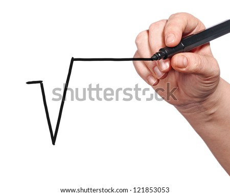 Human hand writting root symbol on transparent surface with black marker pen - stock photo