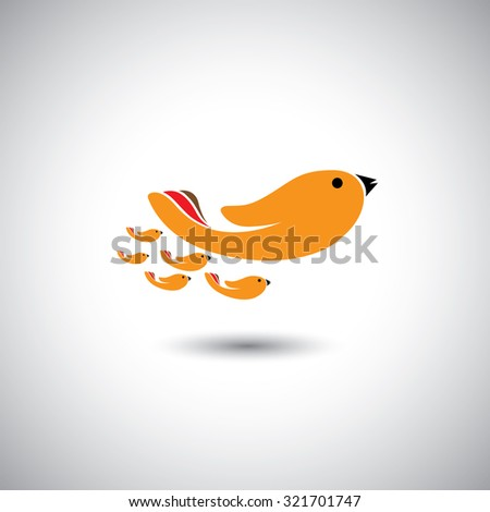 human hands as birds family - concept vector graphic. This illustration also represents leader & leadership, relationship, closeness, father or mother & children together - stock photo