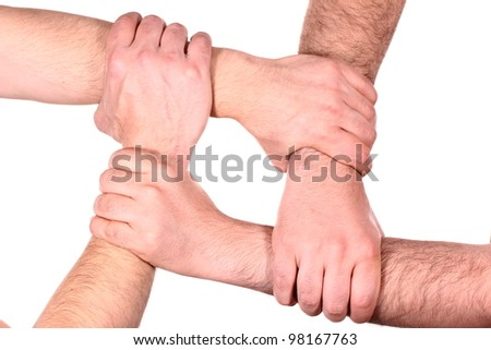 Human Hands building a closed circle - stock photo