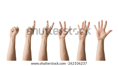 human hands counting from zero to five, isolated on white background - stock photo