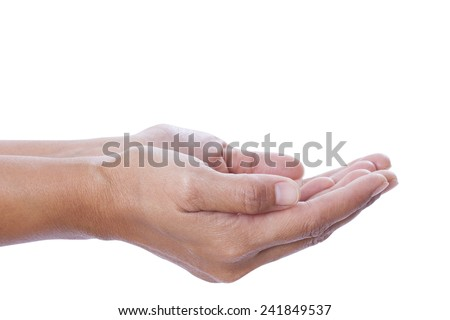 human hands held up. Isolated on white background  - stock photo