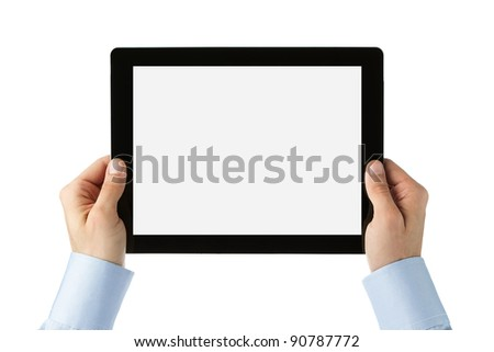 Human hands holding large digital tablet with clipping path for the screen - stock photo