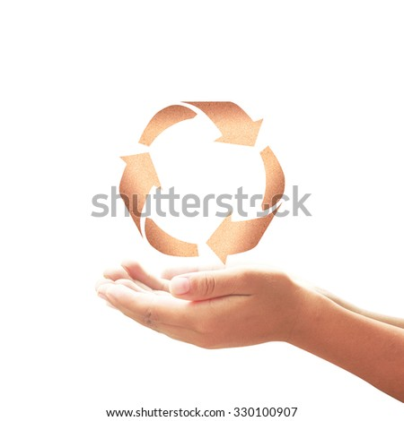 Human hands holding recycle arrow symbol made of paper texture on white background. Recycle icon: Saving world environmental concept. - stock photo