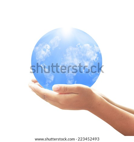 Human hands holding world map of clouds on the globe over white background - stock photo
