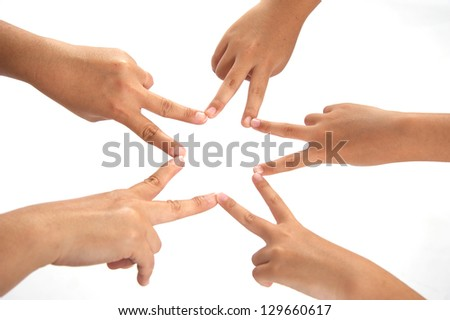 human hands making a star shape - stock photo