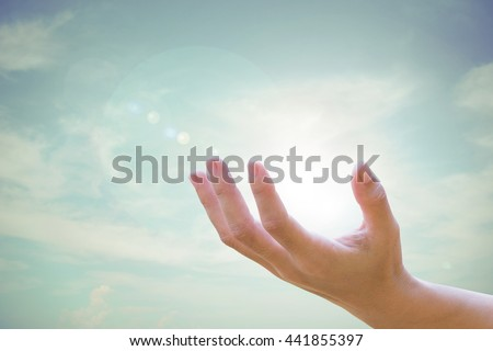 Human hands open up Natural blurred of the background sky.Environment Day concept. Ecology concept.  - stock photo