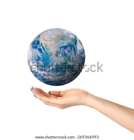 Human hands palm up with global image element over white - stock photo