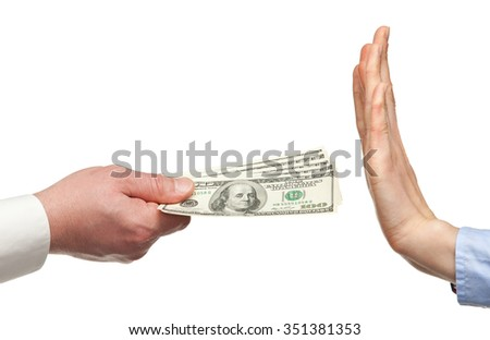 Human hands rejecting an offer of money on white background - stock photo