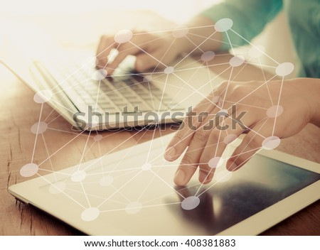 Human hands using tablet computer for search data or shopping on-line. Concept of technology, communicate, digital economy. - stock photo