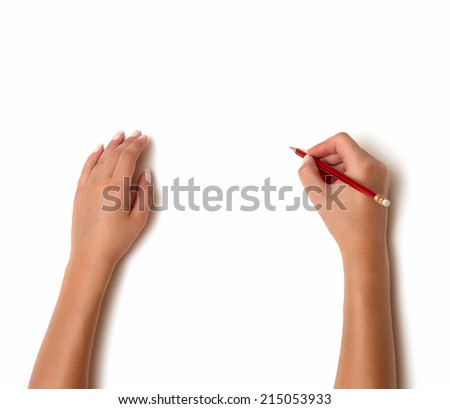 Human hands with pencil writing something isolated on white background - stock photo