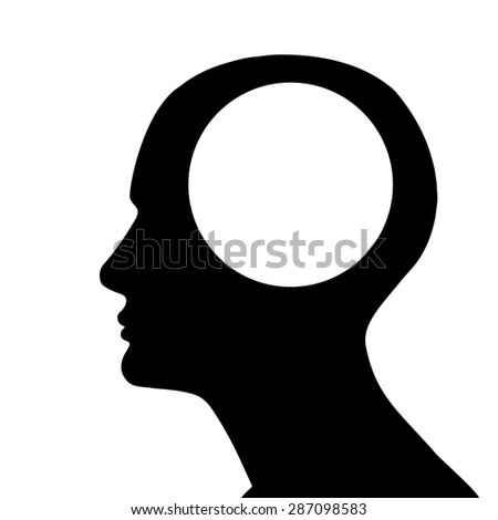 human head,  abstract brain and white background - stock photo