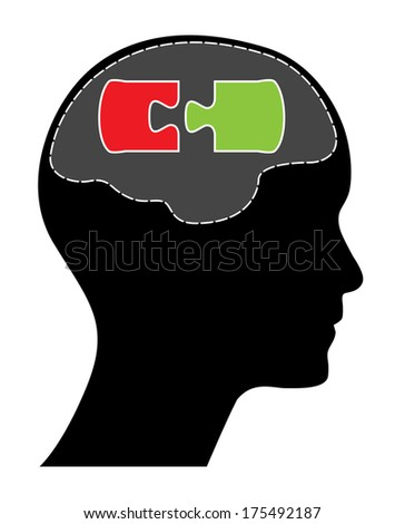 Human head and brain with green and red puzzle piece. - stock photo