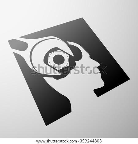 Human head and nut. Stock illustration. - stock photo