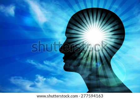 human head, blue sky ,sun,clouds,rays and blur background - stock photo