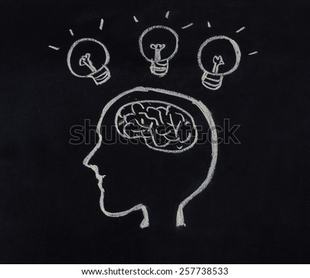 human head,brain and light bulb in idea concept on blackboard - stock photo