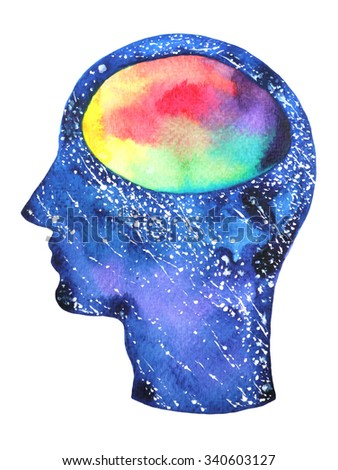 human head, chakra power color colorful abstract thinking, calm, peace or war symbol, world, universe inside your mind, watercolor painting, design illustration - stock photo
