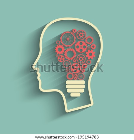 Human head creating a new idea. Creative Idea.  - stock photo