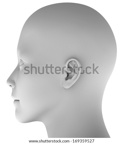 Human head isolated on white background hires ray traced  - stock photo