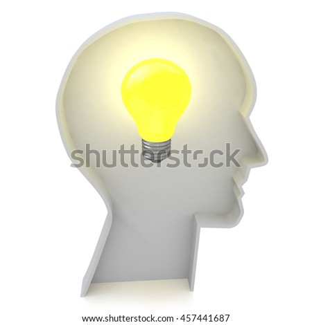 Human head profile with a light bulb - Creative ideas light bulb concept in the design of information related to creative thinking. 3d illustration - stock photo