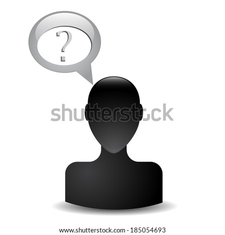Human head silhouette with a question mark - stock photo