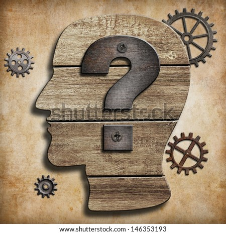 Human head silhouette with question mark concept - stock photo