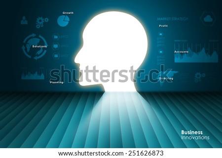human head thinking a new idea    - stock photo