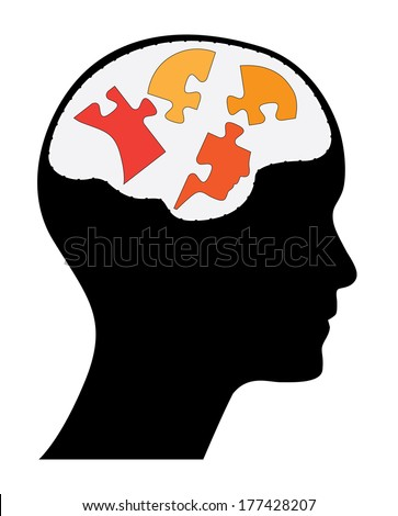 Human head with brain and head shaped puzzle pieces, raster version. - stock photo