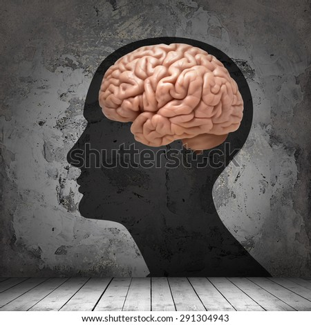 human head with brain , copyspace for text and wall background - stock photo
