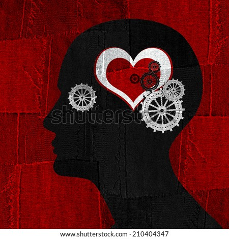 human head with gears heart and red fabric background - stock photo