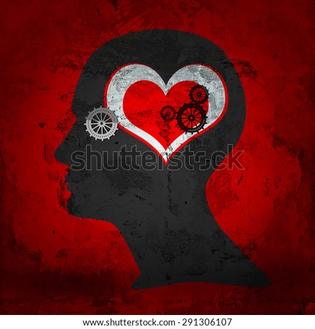 human head with  gears,heart and red wall background - stock photo