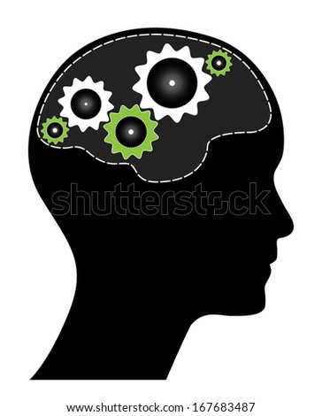 Human head with green and white gears. Black brainstorm concept with gears, brain and head silhouette. Isolated easy to edit illustration. - stock photo