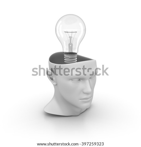 Human Head with Light Bulb on White Background - High Quality 3D Render  - stock photo