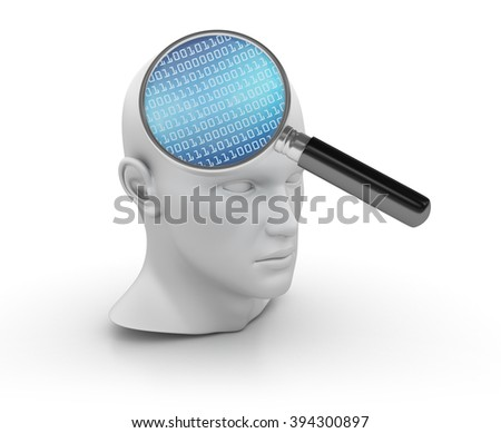 Human Head with Magnifying Glass and Binary Code on White Background - High Quality 3D Render   - stock photo