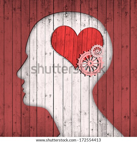human head with pink gears and red heart - stock photo