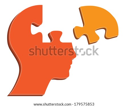 Human head with puzzle piece, creative illustration. - stock photo