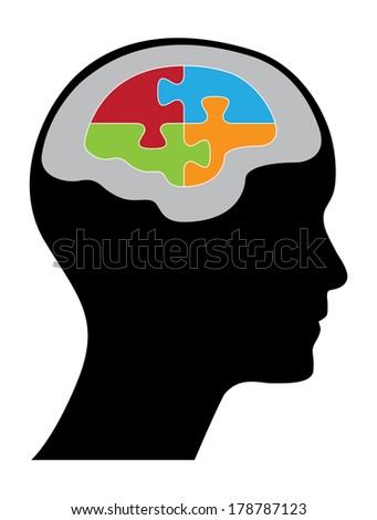 Human head with puzzle pieces, creative illustration. - stock photo