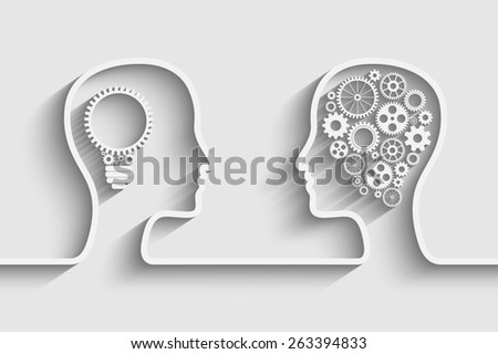 Human head  with set of gears as a symbol work of brain, background for your design - stock photo