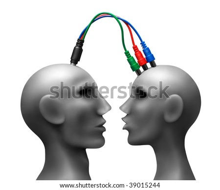 Human heads  with wires.Made of plasticine.Developed in Ps. - stock photo