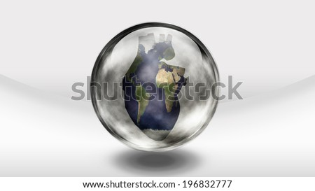 Human heart earth in glass sphere - stock photo
