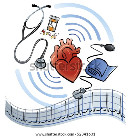 Human heart surrounded by a stethoscope, medicine, blood pressure meter and EKG graph. - stock photo