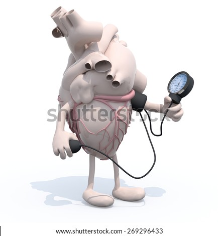 human heart with arms and legs measuring blood pressure, isolated 3d illustration - stock photo