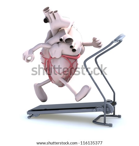 human heart with arms and legs on a running machine, 3d illustration - stock photo