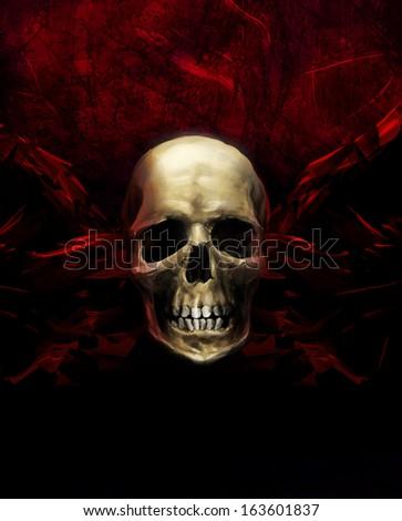 Human horror skull on crimson grunge textured background illustration. - stock photo