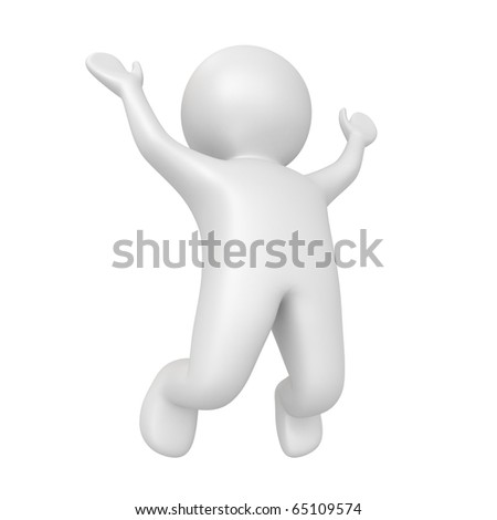 human jumping - from my 3d human collection - stock photo