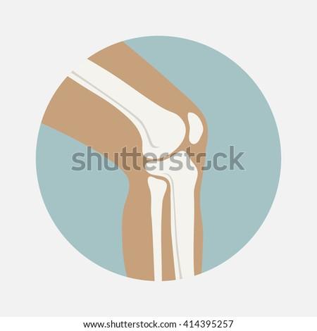 Human knee joint icon, emblem for orthopedic clinic illustration - stock photo