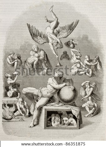 Human life dream allegoric representation. Created by Michelangelo, engraved by Best, Andrew and Leloir, published on Magasin Pittoresque, Paris, 1843 - stock photo